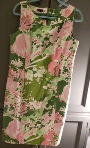 Talbots floral cotton sheath dress sz 12 used euc